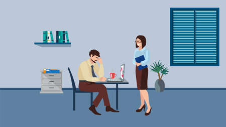 Business woman supporting depressed man flat vector illustration. Mental disorder, psychotherapy concept. Girlfriend consolation sad boyfriend cartoon characters.