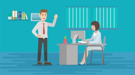 Boss angry at employee vector flat cartoon illustration. Company Staff Reduction. Director characters firing Female Office Worker. Job Loss Bad News Unemployment Concept.