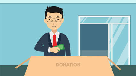 Man throws money in a box for donations isolated on background vector illustration flat design.
