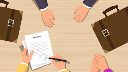 Sign paper deal contract agreement. Hand holding pen on desk. Three people flat business illustration vector. The process of businessman signing document.