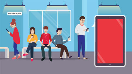 Young people using smart phone socializing in waiting room with gadgets concept background vector illustration. Boy listening to music mobile phone. Girl playing on device. Man watching videos.