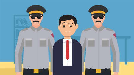 Journalist press interviewing a white collar corrupt businessman while police is arresting him. Government in suit speaks at conference.