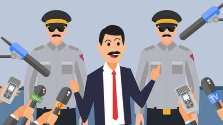 Journalist press interviewing a white collar corrupt businessman while police is arresting him flat vector illustration. Bad politician gives interview to journalists in minimalist style.