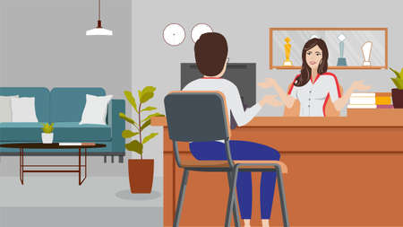 Young woman receptionist sitting at reception information desk. Modern vector illustration. People talking in hotel lobby. customer service client assistance help concepts flat design.