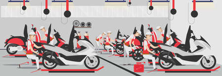 Flat service repair motorcycle composition in garage vector illustration. male character mechanic repairs wheel. Man fixing motorbike shop concept of motor maintenance. Иллюстрация