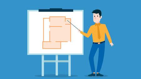Businessman presenting marketing data on a presentation screen board explaining floor plan. Flat style vector illustration. Cartoon character business seminar training design.