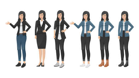 Young woman character wear jeans. Flat vector set with various views and standing in different poses. Template design for animation.