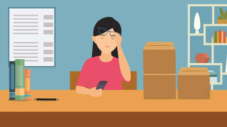 Tired sad busy office worker woman character vector cartoon illustration. Girl work on the table feeling bad. Hold her had. Headache sick and stressed or depression.