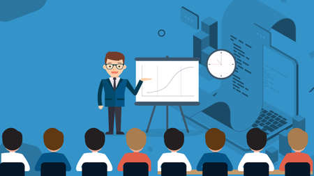 Business Seminar Strategy Idea. Businessman Speaker Doing Presentation on Stage. Professional Marketing Sales, E-Commerce Training Front of Audience. Motivation Conference.