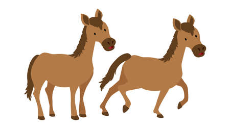 Cute horse character In Different Poses vector illustration isolated on white background. Childish Stickers cartoon set. Çizim