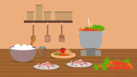 healthy food on a wooden table in kitchen vector illustration. eating and agriculture concept. Ilustracja
