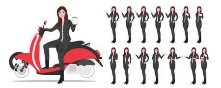 Young asian woman riding a scooter and smiling. Happy girl enjoying her trip. Vector flat design illustration isolated on white background. character set in different pose.
