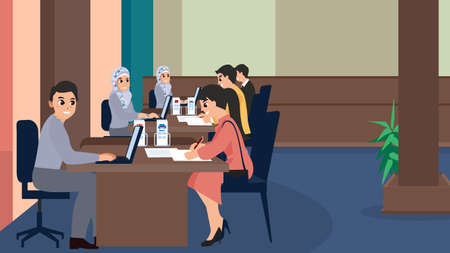 Bank teller or employees servicing a customer vector illustration. Sales clerks working with customers in flat style. Man and woman client at office room. Staff on workplace. Illustration