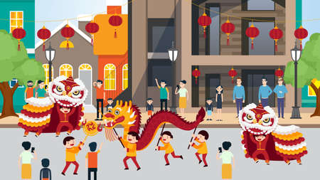People celebrating Chinese New Year vector illustration. Dancing kids with colorful dragon and paper lanterns on background of Chinatown street.