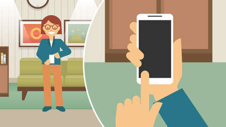 Women standing playing smart phones. Chatting online with friends in living room concept. Girl holding smartphone. Young woman or teenager enjoying favorite games vector illustration. Vettoriali