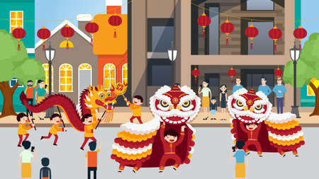 Lion and dragon dances celebration in china town vector illustration. Chinese New Year Dragon Dance Festival. Asian Lunar Holiday Character Traditional Party Parade Flat Cartoon.