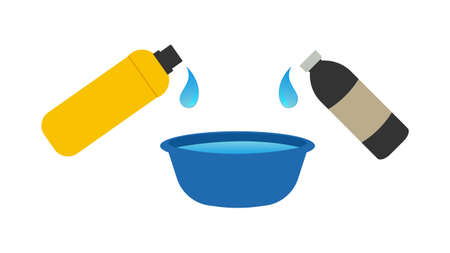 Bottle pouring and mixing liquids for cooking vector illustration. ingredients industrial or kitchen utensils. Ilustrace