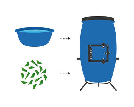Producing mulch vector illustration. Striped worms that process organic waste from the kitchen. Ecological approach. Composting and Recycling garbage. Vermicomposter. Illustration