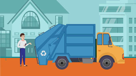 Trash collection transport. Man explains garbage truck or car with recycling sign. Vector illustration for refuse industry. City cleaning service, waste sorting concept. Ilustração