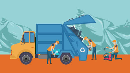vector of garbage officer holding electric trash. Simple flat style illustration. Recycling Process electronic Waste. Save Nature, Help Low Greenhouse Gas Emission and Recover Scrap Cartoon. Иллюстрация