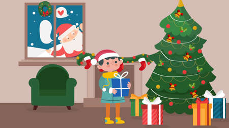 Merry Christmas background with Santa Claus standing behind window and gifts in box. vector illustration. kid make a wishes the living room.