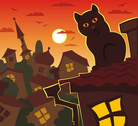 orange evening, cat, roof Stock Photo - 12403207