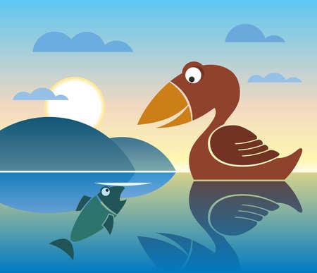bird and fish, lake Stock Photo - 12403205