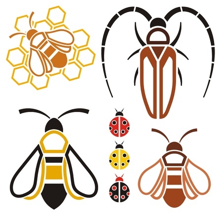 stylization: Insects-icons, objects Stock Photo