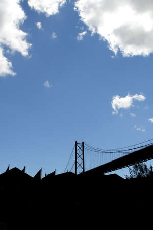 Suspension bridge silhouette                          Stock Photo - 2667064