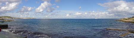 Panorama of Bugibba bay on Malta