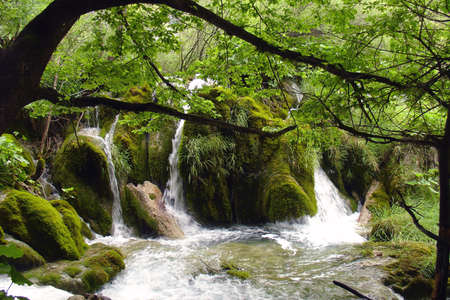 Little waterfall on Plitvice lakes in Croatia Stock Photo