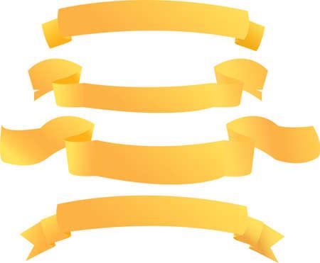 Set of golden banners