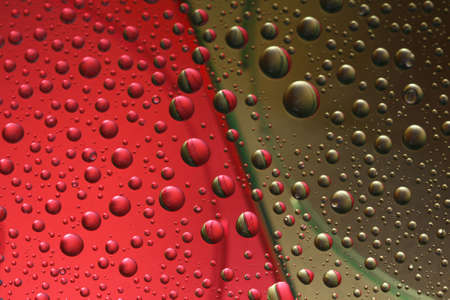 Background made of droplets on red and green