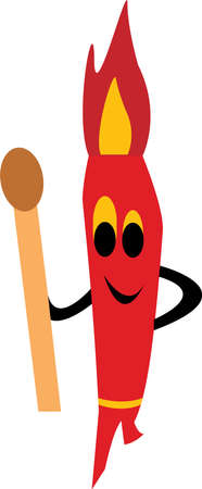 Funny cartoon character with match Vector