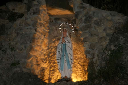 Statue of St. Marie at night