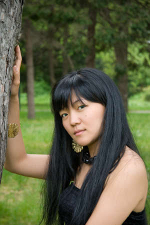 Attractive Korean girl in the forest