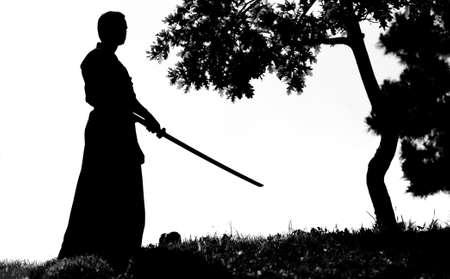 samoerai: Samurai silhouet ten overstaan van boom structuur