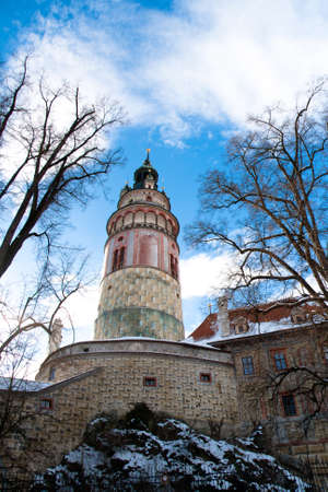 Tower in chezh town of Krumlov Stock Photo