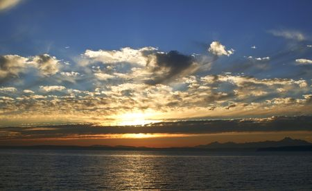 beautiful sunset over Puget Sound Stock Photo