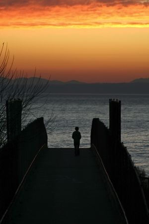 puget: Person on a bridge at sunset over Puget Sound, Washington