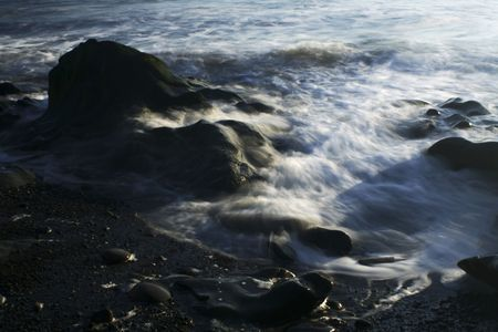 waves on the rocks photo