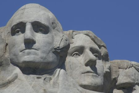 Mt Rushmore detail of Washington and Jefferson  on a clear summer day