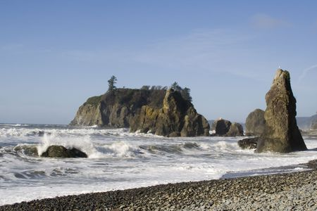Clear day at Ruby Beach with foaming winter waves Stock Photo - 2726409