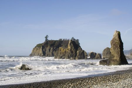Clear day at Ruby Beach with foaming winter waves photo