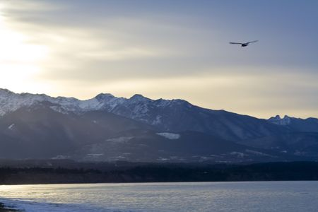 Beautiful winter dawn over the Olympic Mountains from the Dungeness Spit Stock Photo - 2726268