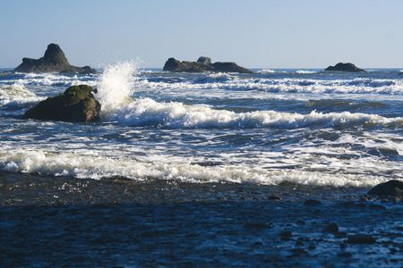 Waves crashing on ruby beach photo