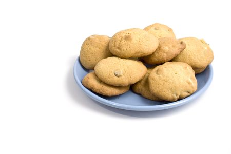 A plate of fresh chocolate chip cookies made from scratch on a clean white background Zdjęcie Seryjne