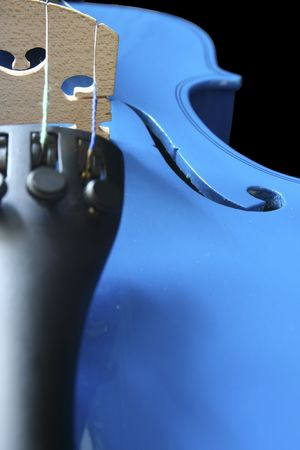 Blue violin on a black background Stock Photo