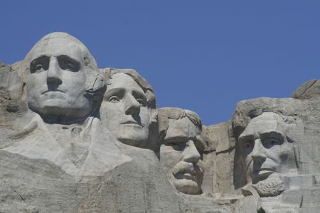 mt: Mt Rushmore all four sculptures  on a clear summer day