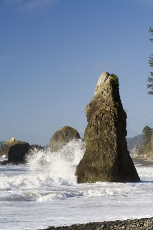 Waves crashing on Ruby Beach with seastacks Stock Photo - 2985714